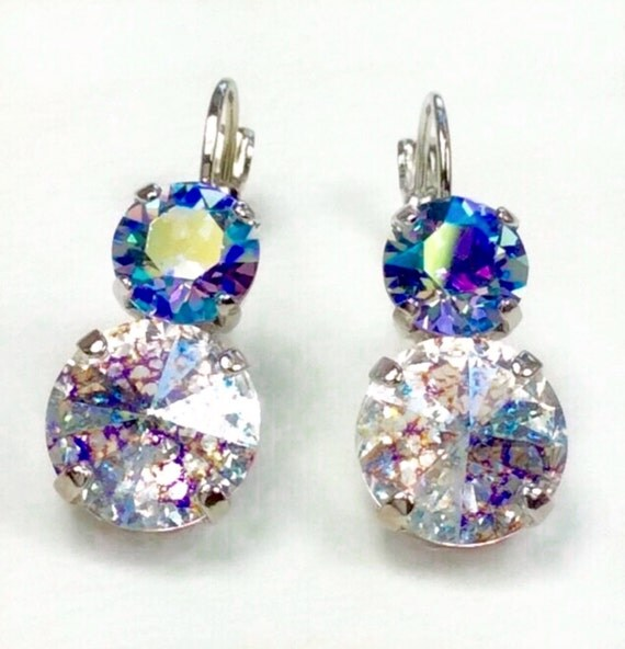Swarovski Crystal 12MM/8.5mm Drop Earrings -  White Patina and Light Sapphire AB - Pure Sophistication   FREE SHIPPING