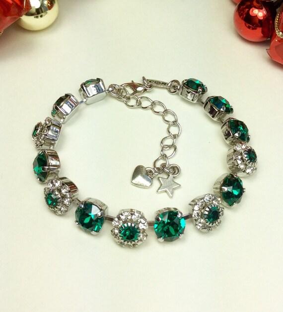 Swarovski Crystal 8.5mm Bracelet With Flowers -  Emerald Green With Swarovski Flowers - Designer Inspired  FREE SHIPPING