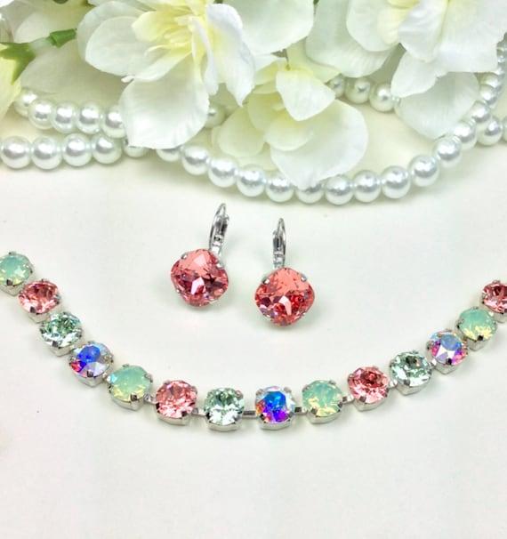 Swarovski Crystal 8.5mm Bracelet & Earrrings - Rose Peach, AB, Chrysolite and Chrysolite Opal - Designer Inspired  FREE SHIPPING
