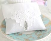 Vintage Linen with Vintage Earring, Vintage Textile, Fragrant Dried Lavender Sachet, Drawer Freshener, Gifts for Her