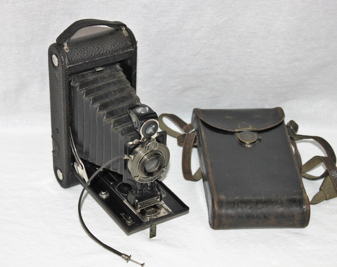 Antique 1916 Eastman Kodak Camera No. 2-C Kodak Jr, Autographic with Original Eastman Kodak Leather Caring Case
