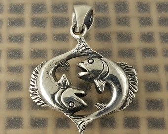 Sterling Silver Pisces Zodiac Pendant Fish Sign, Free Shipping Worldwide!
