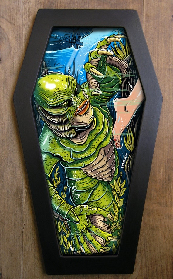 Creature from the Black Lagoon coffin framed print.