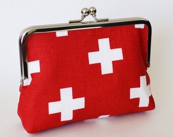 CLUTCH in Red & White Swiss Crosses - SMALL