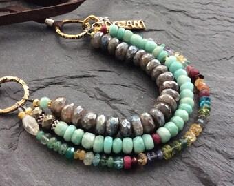 Multi strand boho necklace - 'Triple Treasure' - gemstone semi precious mystic labradorite, beaded rustic layering chic by mollymoojewels
