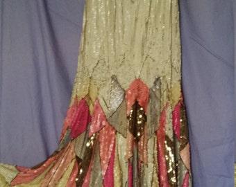 Original 1920 Flapper Dress Vintage Great Gatsby Sequin Covered Net Frock Art Deco Women's Dress