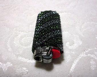 Green Beaded Lighter Cover. Beaded Lighter Case. Custom Lighter. Bic. Hunter Green. Gun Metal. Reusable Case. Stripes. Perfect Gift. Camo