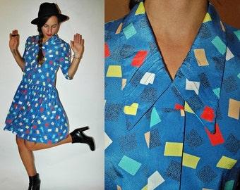 SHOP IS AWAY 1980s Confetti Art School Sky Blue Drop Waist Dress