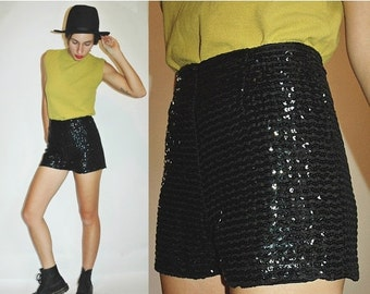 SHOP IS AWAY --- 1960s Sequin Black 40s Style Tap Shorts