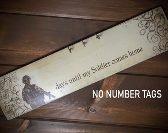 SALE: Distressed Soldier Countdown Sign - Military soldier coming home - large