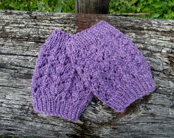 Ready to ship! Lace Knitted Boot cuffs  Purple  Boot Cuffs Leg Warmers  Boot Toppers