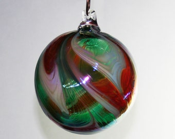 Hand Blown Glass Christmas Ornament - Red, White & Green Feathered