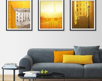 20% OFF SALE: Any THREE Prints - Save 25 Percent,Set of three Illustrations,Giclee Art print Home decor City print Paris decor Travel poster