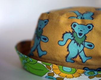 Adult & Child Sizes Grateful Dead Dancing Bears Reversible Bucket Hat/Sun Hat with coordinating Vintage Cotton Floral