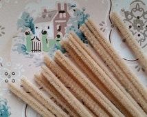 2 Doz. Beautiful Vintage Tan Chenille Stems | Pipe Cleaners | Wired Sticks | Shabby Chic | Craft Supply | NOS