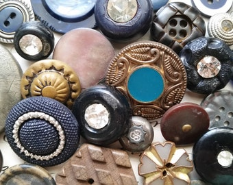 3 Dozen Antique and Vintage Fashion Buttons | Lot No.405 | Rhinestone, Pearl, Fabric, Metal | Black, Blue, Brown, Navy