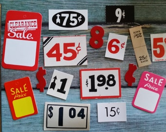 16 Pc Antique and Vintage Assorted Price Tag Lot