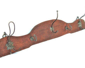 Vintage wooden wall coat rack Antique rustic hanging Rack