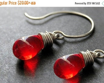 BACK to SCHOOL SALE Sterling Silver Wire Wrapped Earrings - Blood Red Clear Teardrop Earrings. Handmade Jewelry.