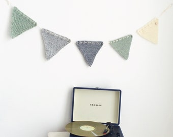 Knitted Bunting Kid's Room Garland Flags Mint Grey Offwhite Living Room Decoration Cake Smash Birthday Party Wedding
