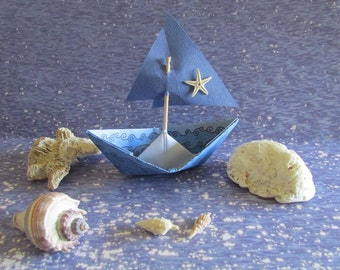 Paper Boat Blue Starfish Sailboat nautical Display Bridal Shower Beach House Ocean Beach Wedding