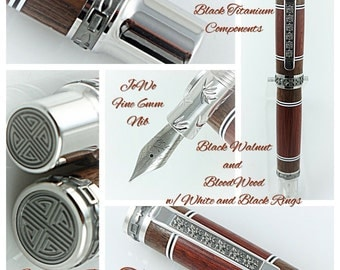 Custom Wooden Pen Beautiful Bloodwood and Black Walnut and White and Black Rings Western Emperor MPZ Rhodium and Black Titanium 819FPXLB