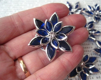 Large Royal Blue Rhinestone Flowers / 35mm / 3 to 10 pcs / Flat Back Rhinestone Flower / Perfect for Hair Accessories, Necklaces