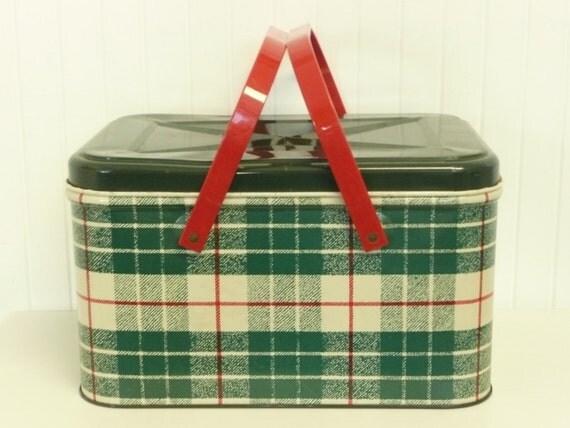Red Plastic Picnic Basket : Vintage green plaid picnic basket tin metal colorware