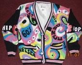 Vintage  NO! JEANS 80s 90s Oversized cardigan sweater Hip hop Dance 60s flower