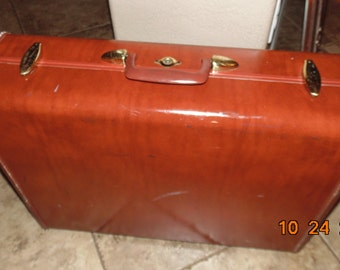 "Vintage SAMSONITE Mid-century Brown SUITCASE Luggage SHWAYDER 24"" Hardcase"
