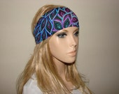 yoga headband - peacock turban headband - multicolor workout headband - excercice headband - fitness hair band - Woman boho head wrap