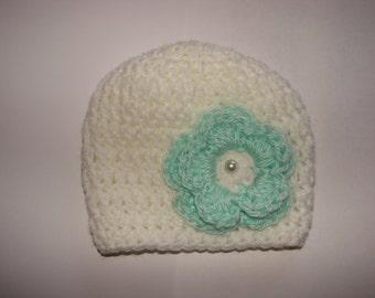 white crochet hat with mint green flower baby girl beanie hat, crochet hat newborn 0-3 months shower gift,  photo prop
