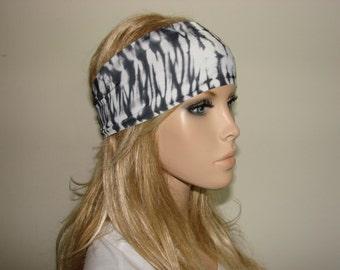 black white yoga headband - turban headband - workout headband - woman tribal boho head wrap - bandana