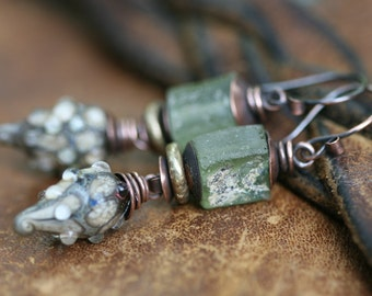 Rustic Primitive Artisan Earthy * Echoes * earrings n.96- primitive jewelry . ancient green Roman Glass earrings . organic colors