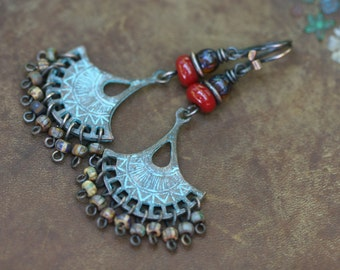 sale Rustic Bohemian Chandellier * Lady with Fan * Dangle earrings n22- Fan . bohemian jewelry . Mykono beads . Klimt blue patina . long