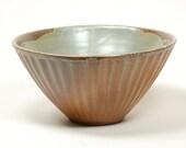 Salt kiln fluted kitchen bowl glazed in celadon