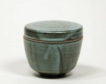 Blue glazed lidded pot