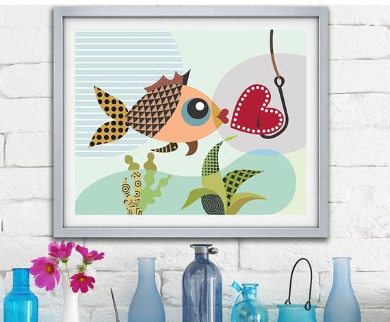Valentine Decor, Love Gift, Love Fish, Love Sign, Valentines Day Decor, Gift for Couple, Gift For Her, Love Poster