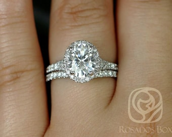 Rosados Box Clarise 9x7mm 14kt White Gold Oval F1- Moissanite and Diamond Split Band Halo Wedding Set