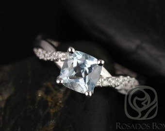 Tressa 6mm 14kt White Gold Cushion Aquamarine and Diamond Twist Engagement Ring (Other Metals and Stone Options Available)