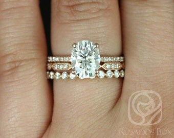 Hillary 9x7mm Stella & Naomi 14kt Rose Gold Oval FB Moissanite and Diamond Basket TRIO Wedding Set