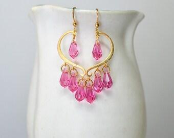 Half heart open hoop earrings Romantic gold heart Blue crystal dangle chandelier earrings Unique Christmas gift idea girlfriend wife her