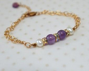 Genuine amethyst bracelet Purple gemstone bracelet gold Delicate bracelet Special occasion jewelry Dressy bracelet February birthstone