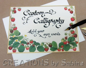 "Custom Calligraphy Vintage Card ""Strawberries"" Handwritten Original Art Personalized Non-folded Personalize Caspari Kjaersgaard Switzerland"