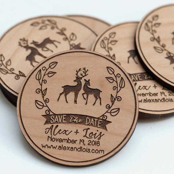 Wedding Date Gift Ideas: 50 Rustic Love Deer Save The Date Magnets Wedding Favors