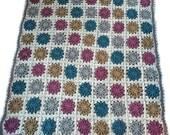 Crochet afghan handmade blanket alpaca blanket starburst afghan wool blanket, READY TO SHIP