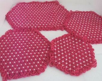 SALE! Vintage Daisy Crochet Trivets Hot Pot Pads Doilies Placemats, Bright Pink White, Handmade 1970s Decor, 3 Sizes, Retro Mod, BONUS Green