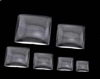 Square Clear Glass Cabochons Wholesale, Hand-Cut and Fired, Crystal Clear Colorless Glass, transparent glass covers--5 Size available