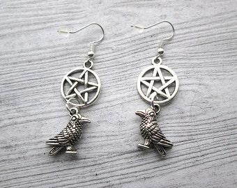 Goddess Morrigan earrings, Raven earrings, Raven Totem earrings, Witch's familiar, Witch's familiar, crow totem, Pentacle earrings, triple