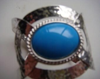 Silver Cuff w Blue Stone
